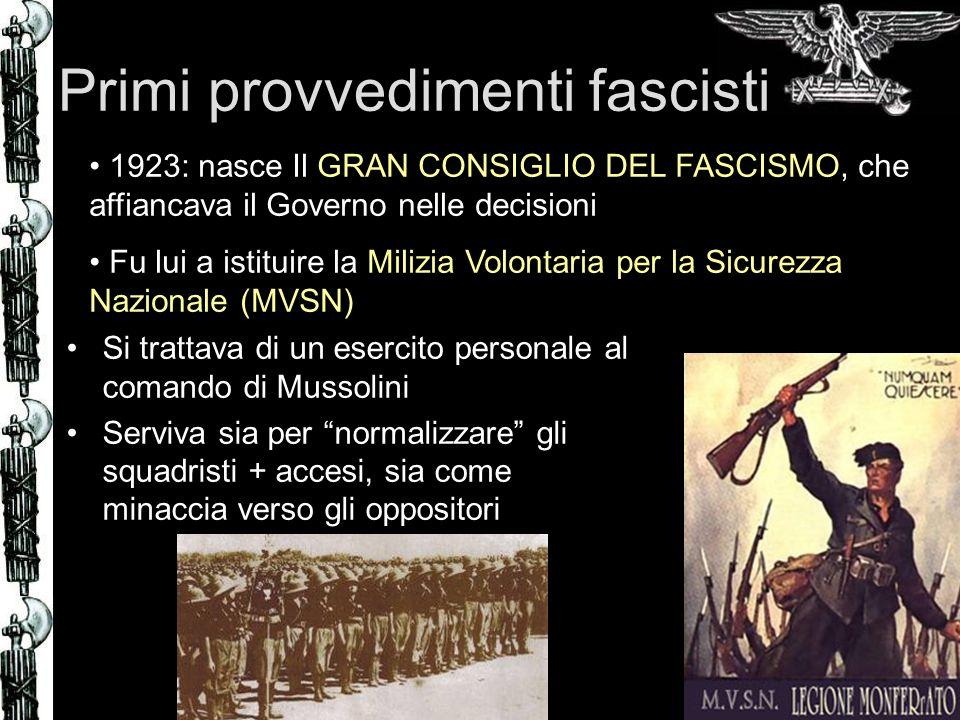Primi provvedimenti fascisti Si trattava di un esercito personale al comando di Mussolini Serviva sia per normalizzare gli squadristi + accesi, sia co