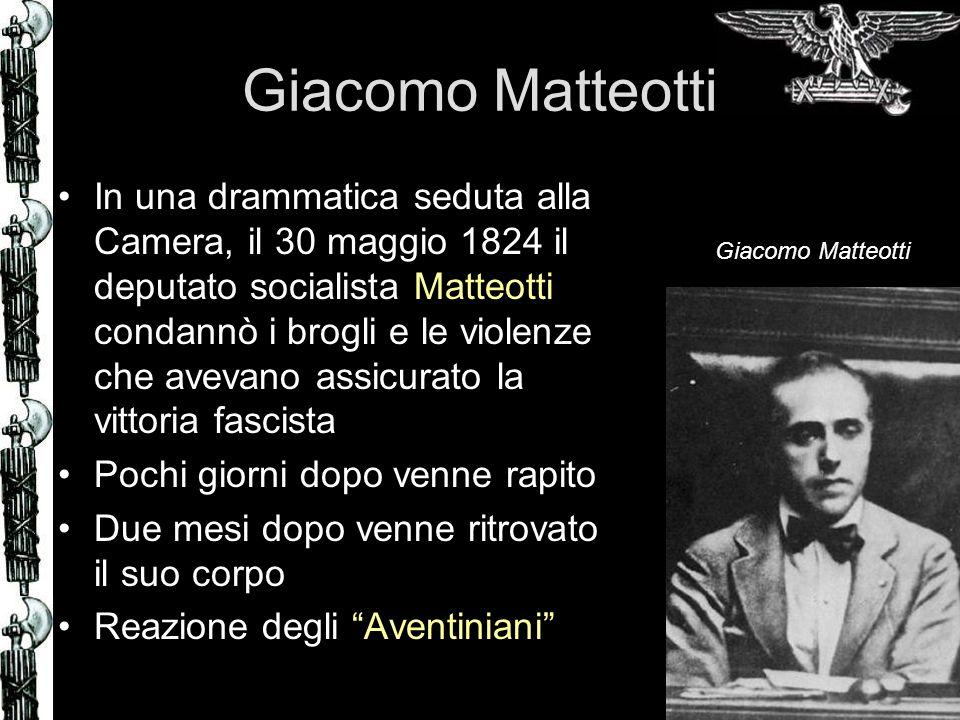 Giacomo Matteotti In una drammatica seduta alla Camera, il 30 maggio 1824 il deputato socialista Matteotti condannò i brogli e le violenze che avevano
