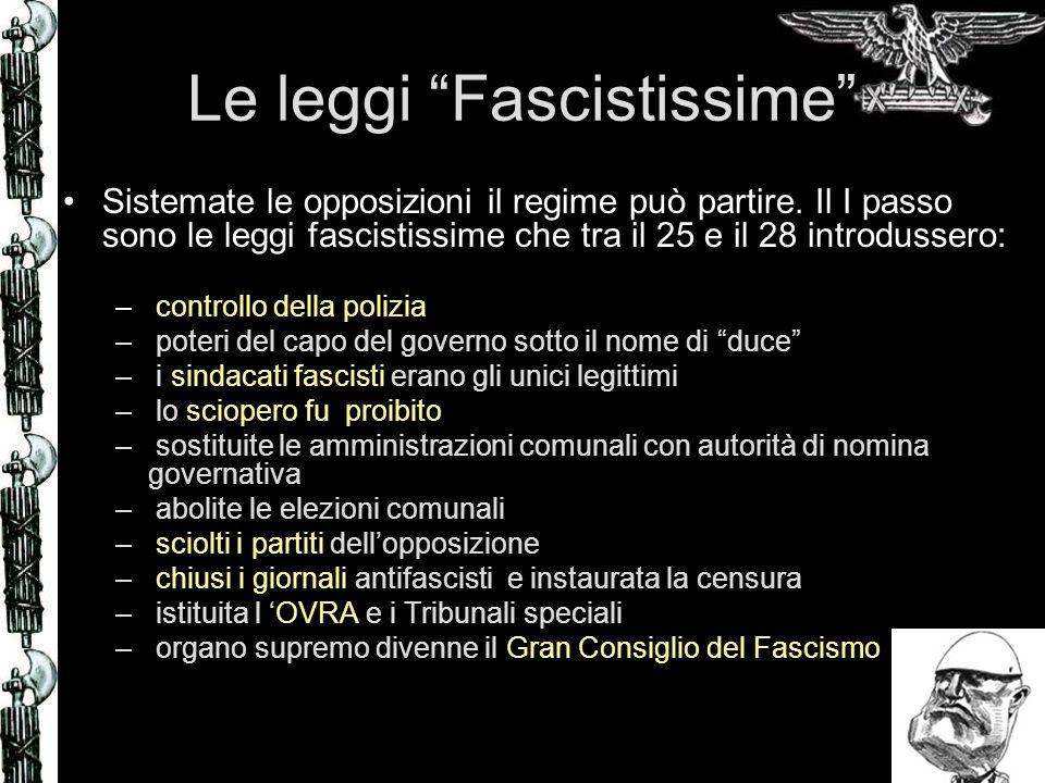 Le leggi Fascistissime Sistemate le opposizioni il regime può partire. Il I passo sono le leggi fascistissime che tra il 25 e il 28 introdussero: – co