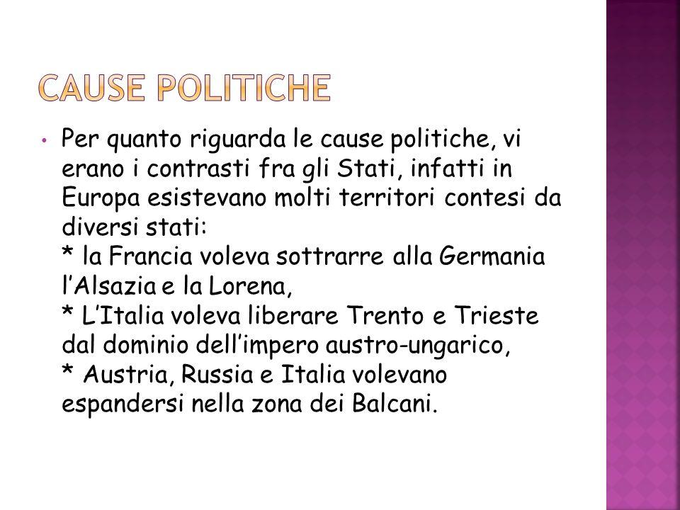 Per quanto riguarda le cause politiche, vi erano i contrasti fra gli Stati, infatti in Europa esistevano molti territori contesi da diversi stati: * l
