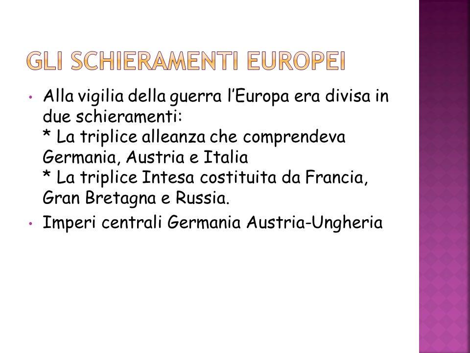Alla vigilia della guerra lEuropa era divisa in due schieramenti: * La triplice alleanza che comprendeva Germania, Austria e Italia * La triplice Inte