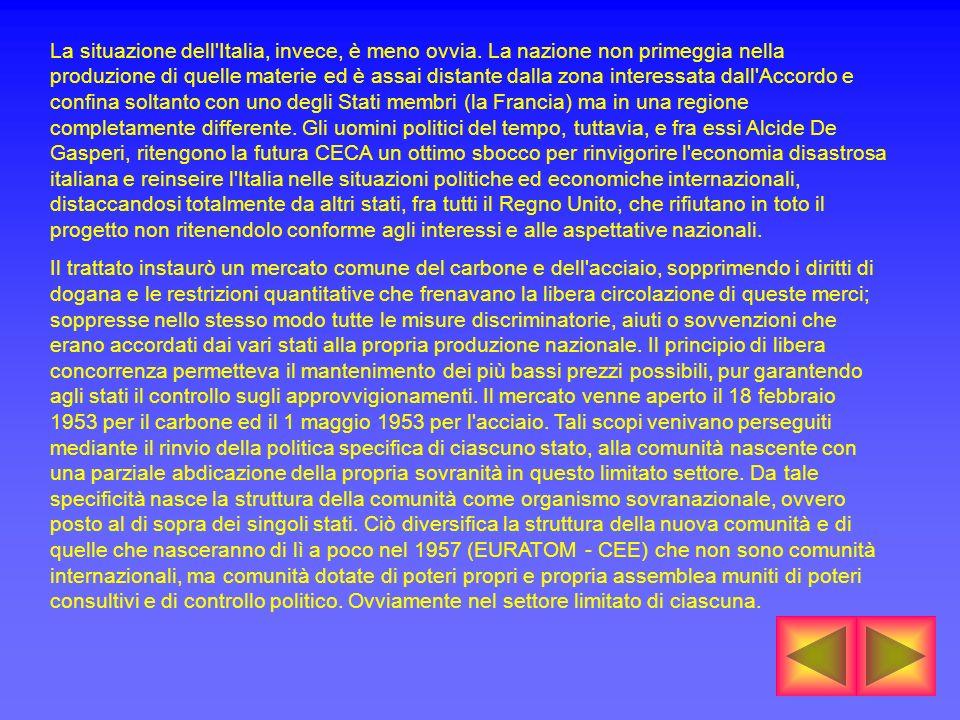 La situazione dell'Italia, invece, è meno ovvia. La nazione non primeggia nella produzione di quelle materie ed è assai distante dalla zona interessat