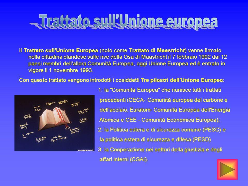 Il Trattato sull'Unione Europea (noto come Trattato di Maastricht) venne firmato nella cittadina olandese sulle rive della Osa di Maastricht il 7 febb