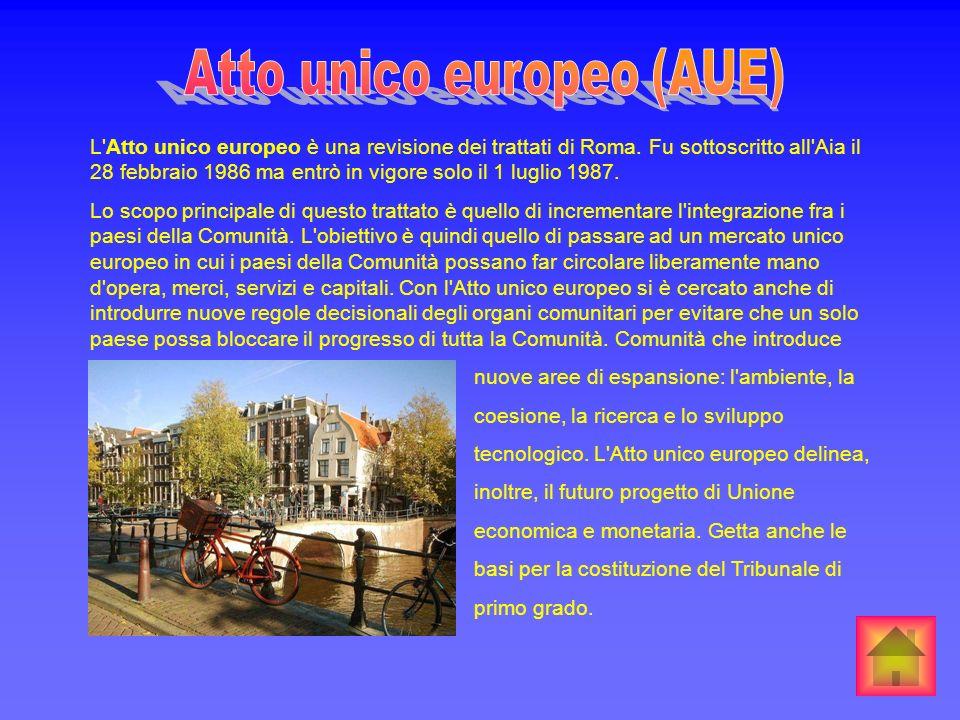 L'Atto unico europeo è una revisione dei trattati di Roma. Fu sottoscritto all'Aia il 28 febbraio 1986 ma entrò in vigore solo il 1 luglio 1987. Lo sc