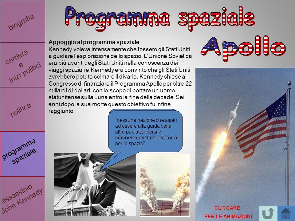 politica biografia carriera e inizi politici assassinio John Kennedy programma spaziale Appoggio al programma spaziale Kennedy voleva intensamente che fossero gli Stati Uniti a guidare l esplorazione dello spazio.