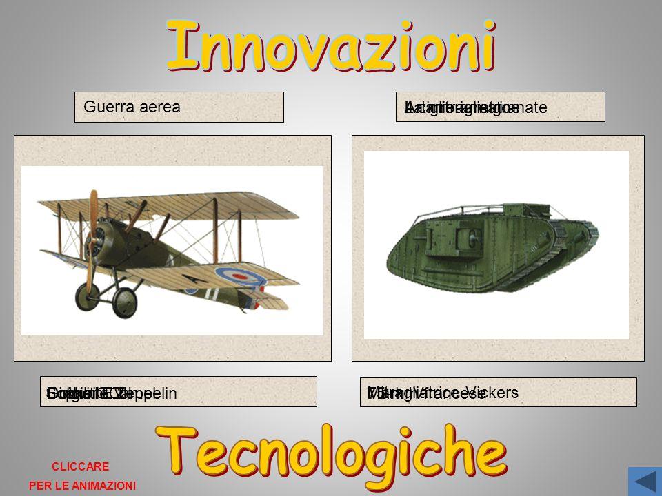 Guerra aerea Dirigibile Zeppelin Gotha G.V Fokker E.III Sopwith Camel La mitragliatrice Mitragliatrice Vickers 75-mm francese Artiglieria e granate Il carro armato Mark IV CLICCARE PER LE ANIMAZIONI
