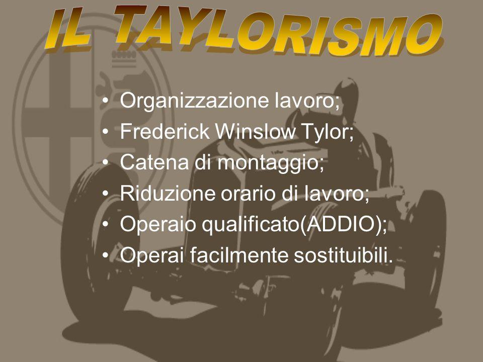 Organizzazione lavoro; Frederick Winslow Tylor; Catena di montaggio; Riduzione orario di lavoro; Operaio qualificato(ADDIO); Operai facilmente sostituibili.