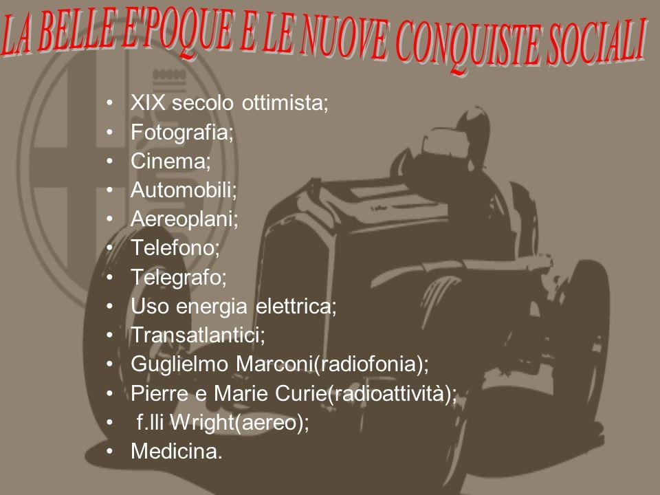 XIX secolo ottimista; Fotografia; Cinema; Automobili; Aereoplani; Telefono; Telegrafo; Uso energia elettrica; Transatlantici; Guglielmo Marconi(radiofonia); Pierre e Marie Curie(radioattività); f.lli Wright(aereo); Medicina.