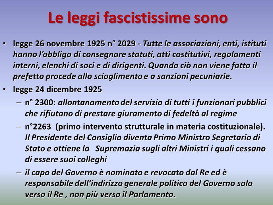 Le leggi fascistissime sono legge 26 novembre 1925 n° 2029 - Tutte le associazioni, enti, istituti hanno lobbligo di consegnare statuti, atti costitut