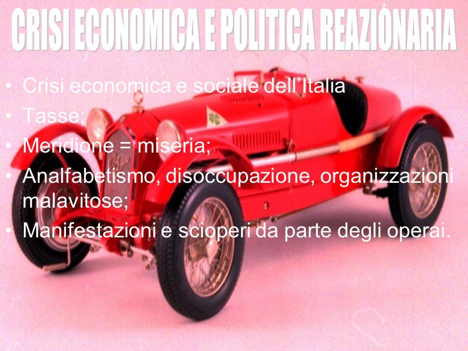 Crisi economica e sociale dellItalia Tasse; Meridione = miseria; Analfabetismo, disoccupazione, organizzazioni malavitose; Manifestazioni e scioperi d
