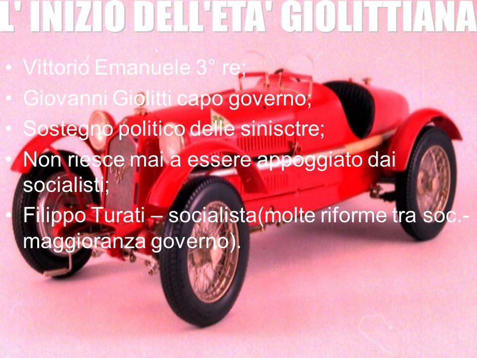 Vittorio Emanuele 3° re; Giovanni Giolitti capo governo; Sostegno politico delle sinisctre; Non riesce mai a essere appoggiato dai socialisti; Filippo