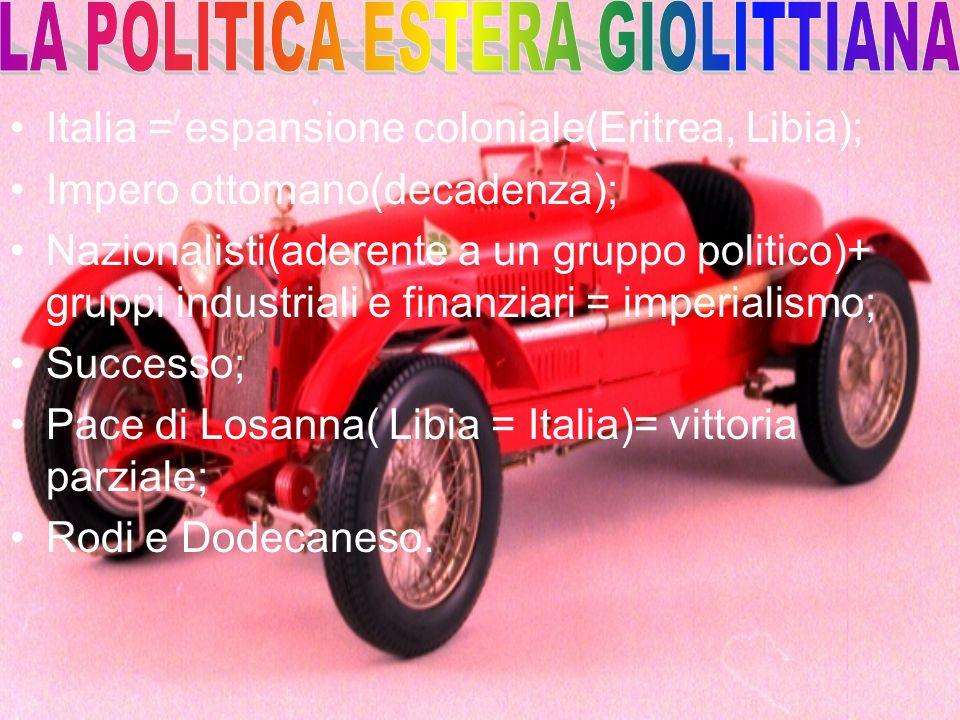 Italia = espansione coloniale(Eritrea, Libia); Impero ottomano(decadenza); Nazionalisti(aderente a un gruppo politico)+ gruppi industriali e finanziar