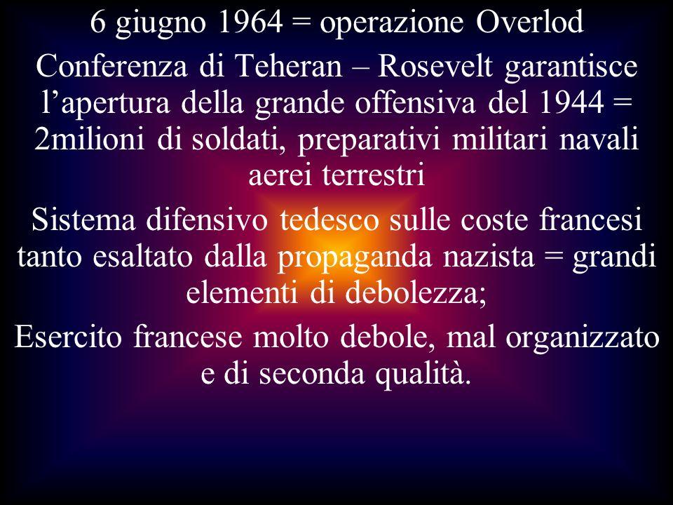 6 giugno 1964 = operazione Overlod Conferenza di Teheran – Rosevelt garantisce lapertura della grande offensiva del 1944 = 2milioni di soldati, prepar