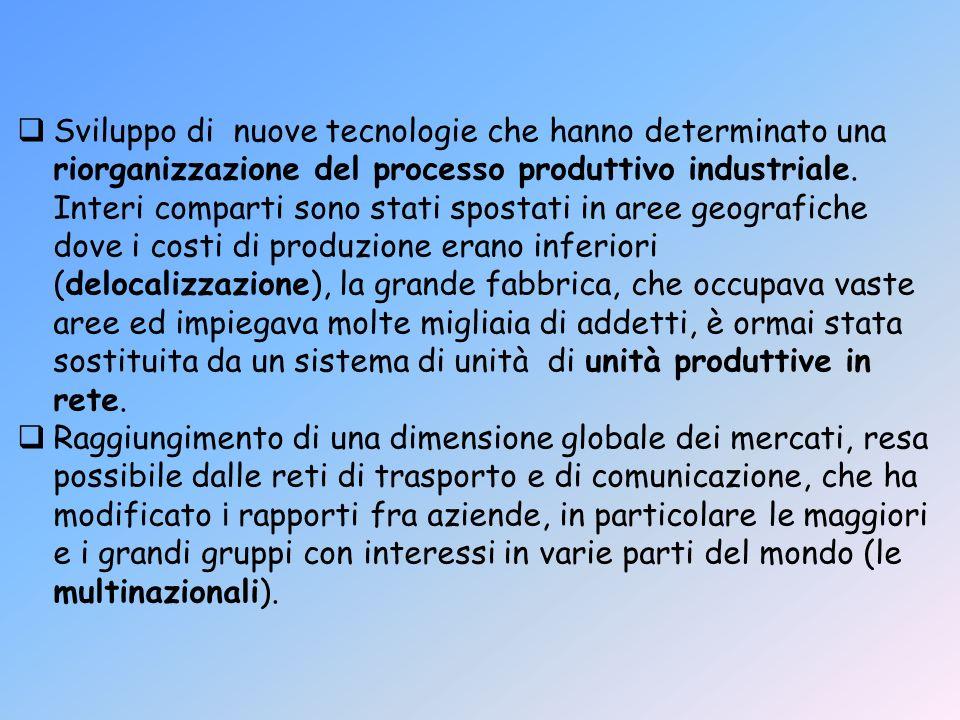 Sviluppo di nuove tecnologie che hanno determinato una riorganizzazione del processo produttivo industriale. Interi comparti sono stati spostati in ar