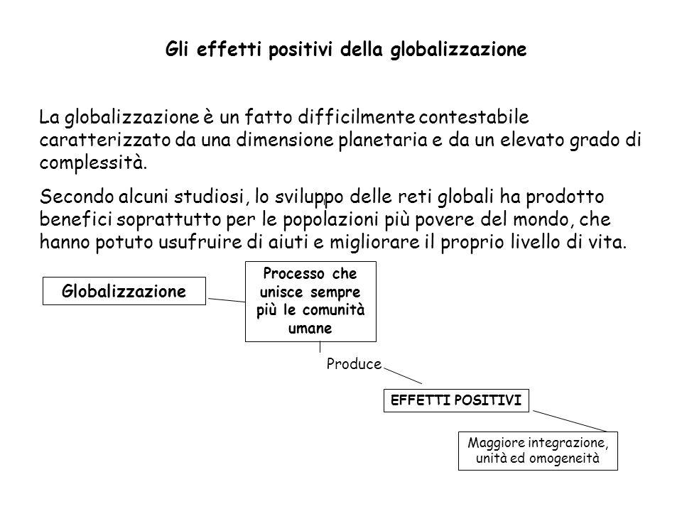 Gli effetti positivi della globalizzazione La globalizzazione è un fatto difficilmente contestabile caratterizzato da una dimensione planetaria e da un elevato grado di complessità.