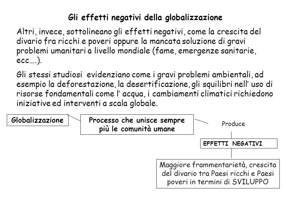 Gli effetti negativi della globalizzazione Altri, invece, sottolineano gli effetti negativi, come la crescita del divario fra ricchi e poveri oppure la mancata soluzione di gravi problemi umanitari a livello mondiale (fame, emergenze sanitarie, ecc….).