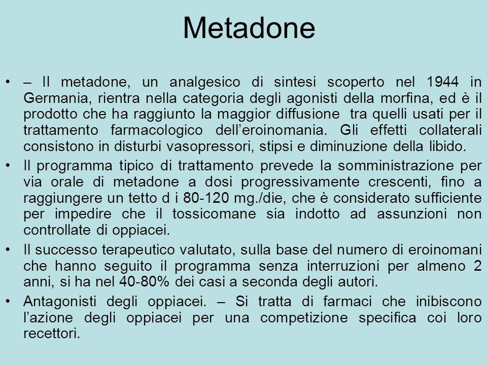 Metadone – Il metadone, un analgesico di sintesi scoperto nel 1944 in Germania, rientra nella categoria degli agonisti della morfina, ed è il prodotto