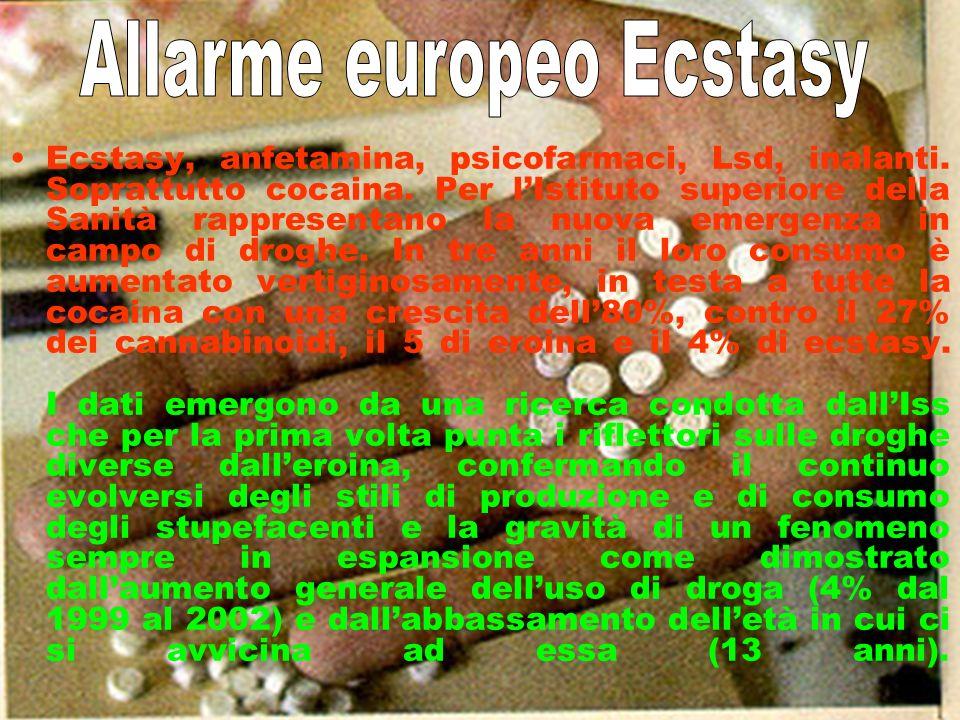 Ecstasy, anfetamina, psicofarmaci, Lsd, inalanti. Soprattutto cocaina. Per lIstituto superiore della Sanità rappresentano la nuova emergenza in campo