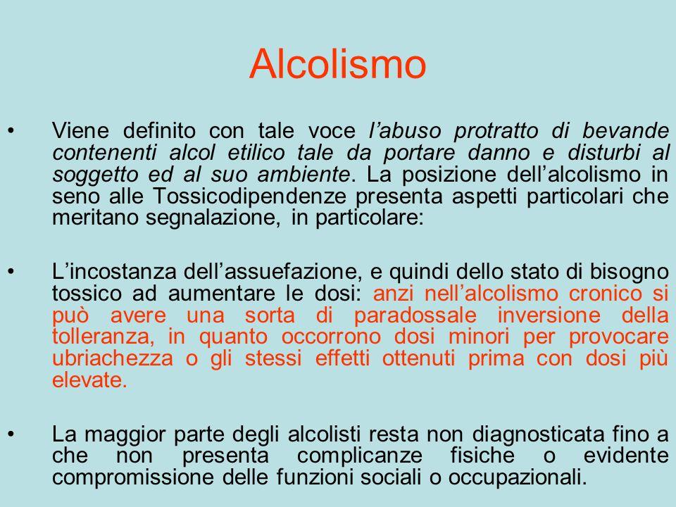 Alcolismo Viene definito con tale voce labuso protratto di bevande contenenti alcol etilico tale da portare danno e disturbi al soggetto ed al suo amb