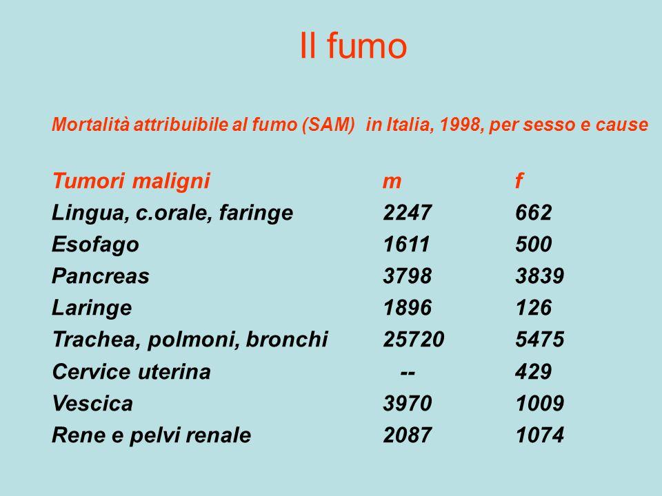 Il fumo Mortalità attribuibile al fumo (SAM) in Italia, 1998, per sesso e cause Tumori malignimf Lingua, c.orale, faringe2247662 Esofago1611500 Pancre