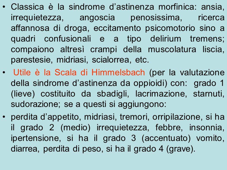 Classica è la sindrome dastinenza morfinica: ansia, irrequietezza, angoscia penosissima, ricerca affannosa di droga, eccitamento psicomotorio sino a q