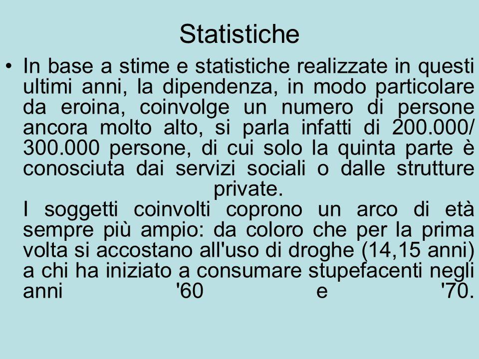 Statistiche In base a stime e statistiche realizzate in questi ultimi anni, la dipendenza, in modo particolare da eroina, coinvolge un numero di perso