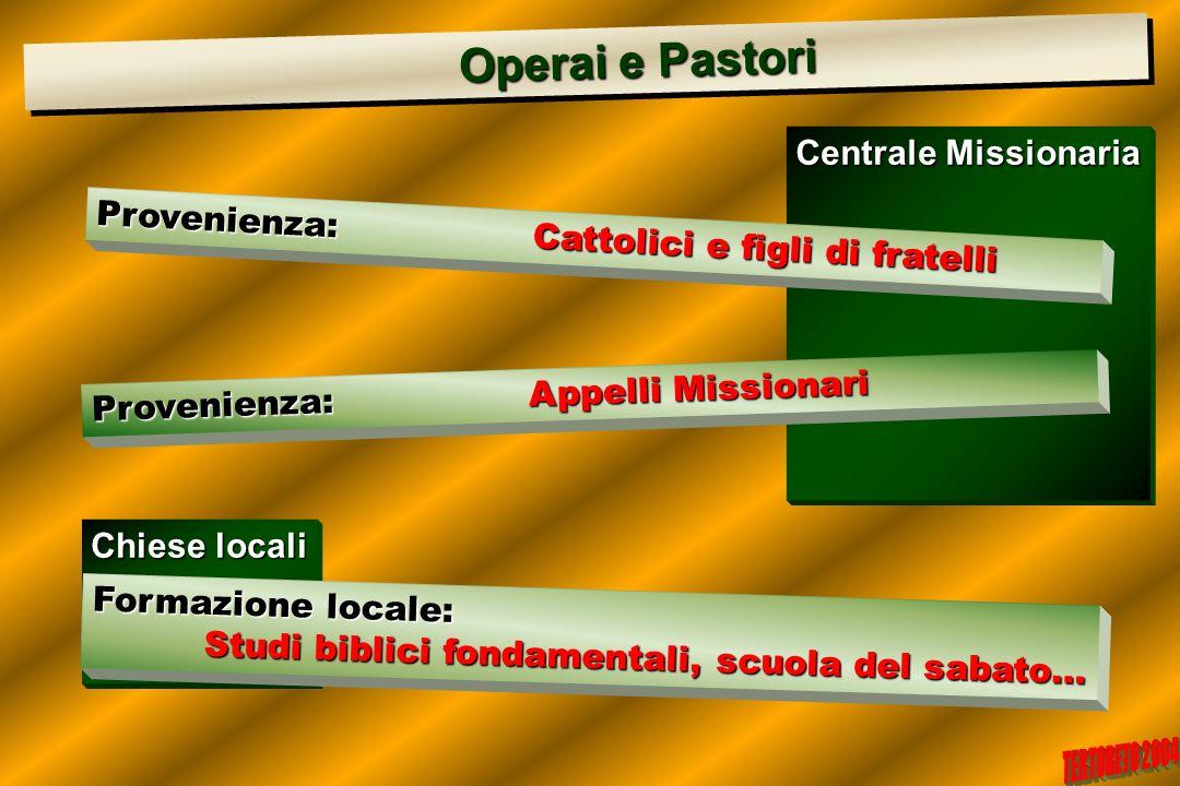 Chiese locali Centrale Missionaria Operai e Pastori Operai e Pastori Provenienza:Cattolici e figli di fratelli Provenienza:Appelli Missionari Formazio