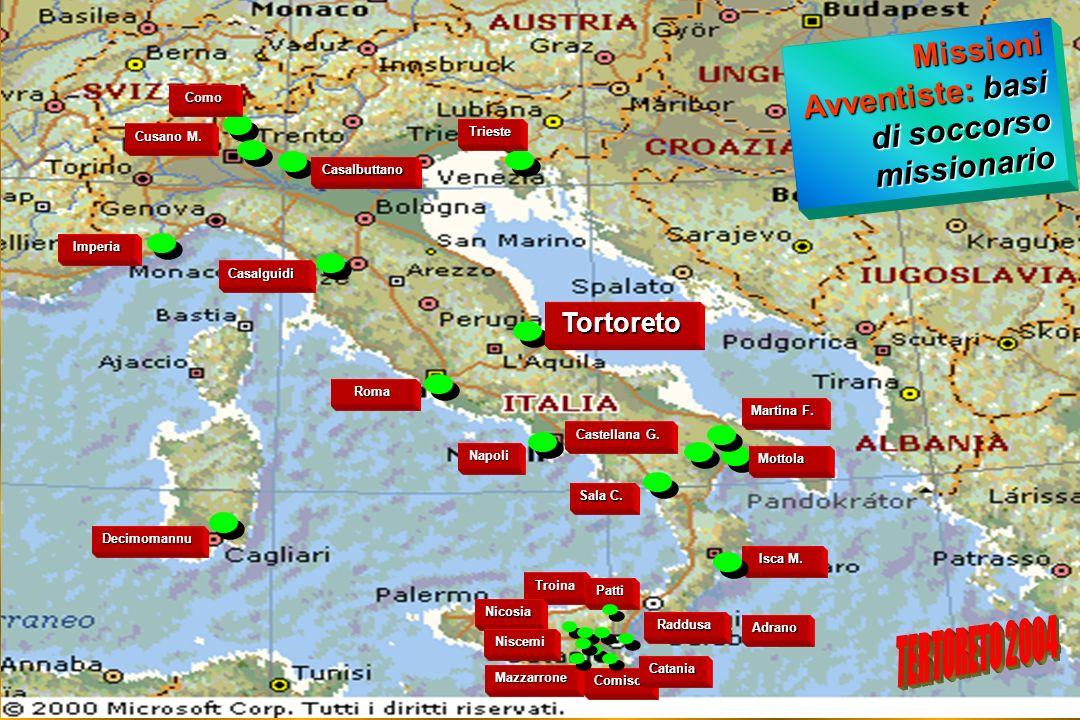 Missioni Avventiste: basi di soccorso missionario (isolati) Cesena 4 Bologna 2 Concordia San.