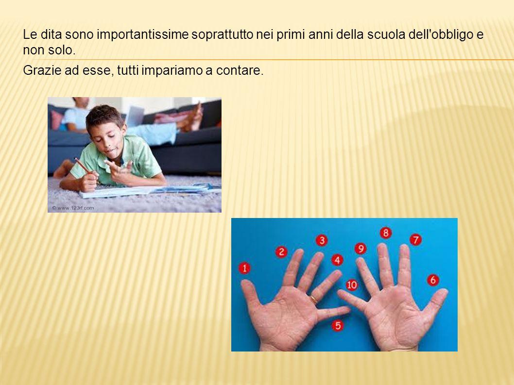 Le dita sono importantissime soprattutto nei primi anni della scuola dell'obbligo e non solo. Grazie ad esse, tutti impariamo a contare.
