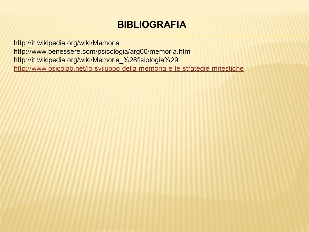 BIBLIOGRAFIA http://it.wikipedia.org/wiki/Memoria http://www.benessere.com/psicologia/arg00/memoria.htm http://it.wikipedia.org/wiki/Memoria_%28fisiol