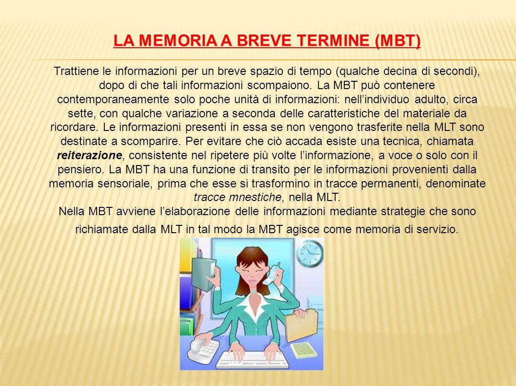 LA MEMORIA A BREVE TERMINE (MBT) Trattiene le informazioni per un breve spazio di tempo (qualche decina di secondi), dopo di che tali informazioni sco