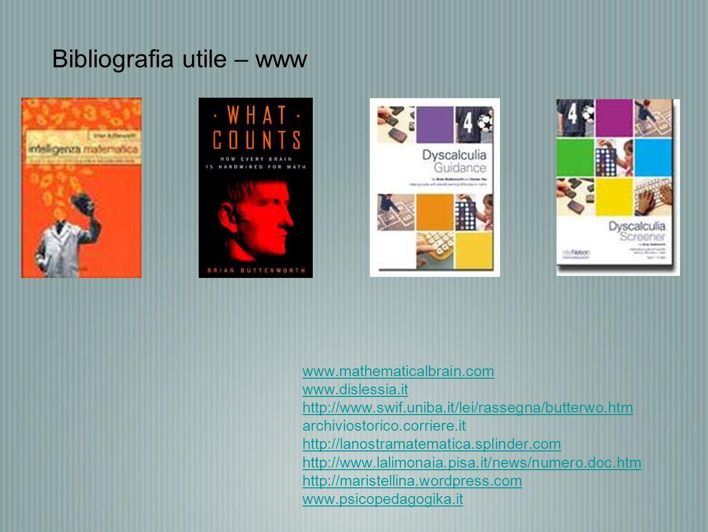 www.mathematicalbrain.com www.dislessia.it http://www.swif.uniba.it/lei/rassegna/butterwo.htm archiviostorico.corriere.it http://lanostramatematica.sp