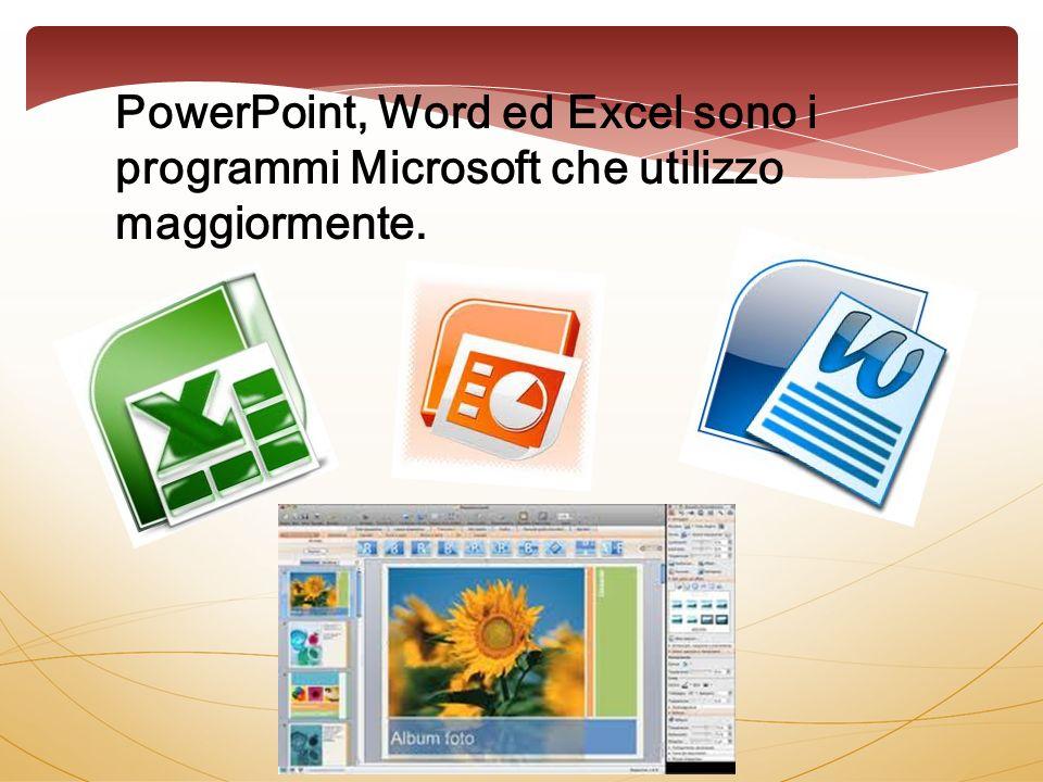 PowerPoint, Word ed Excel sono i programmi Microsoft che utilizzo maggiormente.
