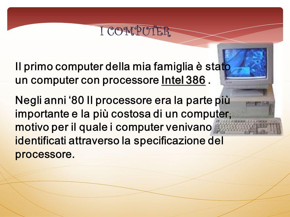 Intel 386 Il primo computer della mia famiglia è stato un computer con processore Intel 386. Negli anni 80 Il processore era la parte più importante e