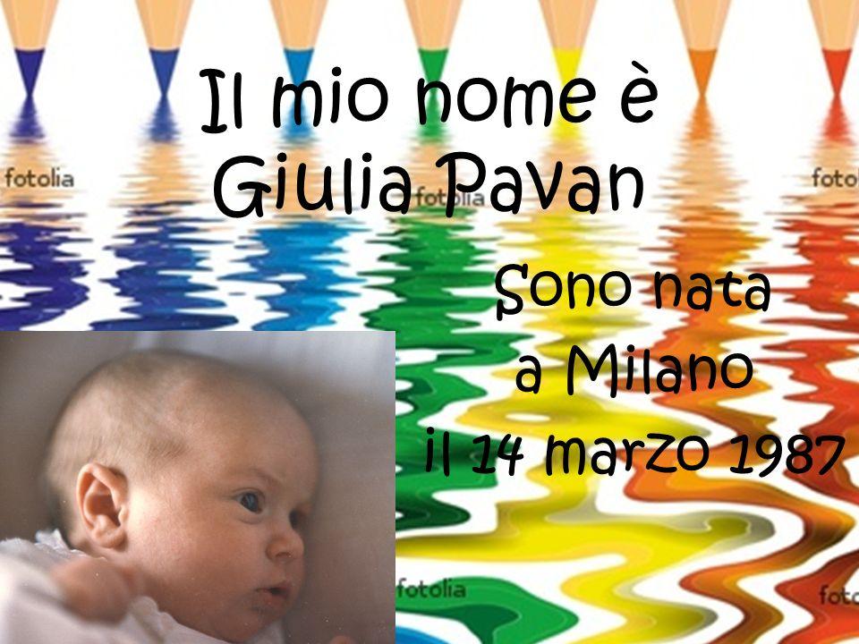 Il mio nome è Giulia Pavan Sono nata a Milano il 14 marzo 1987