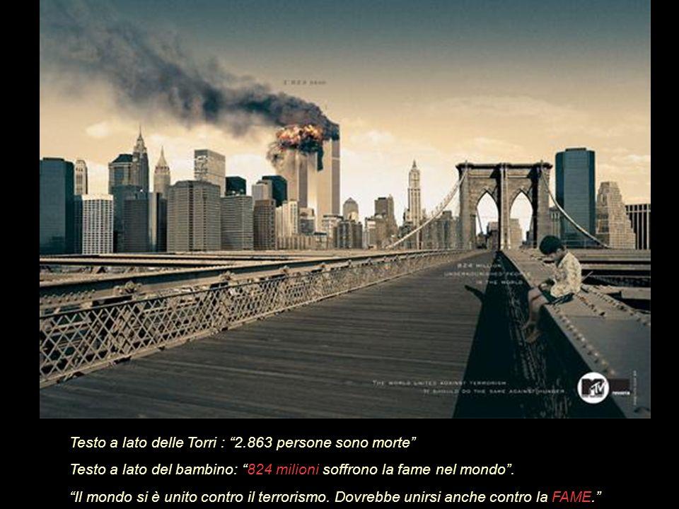 Testo a lato delle torri : 2.863 persone sono morte.