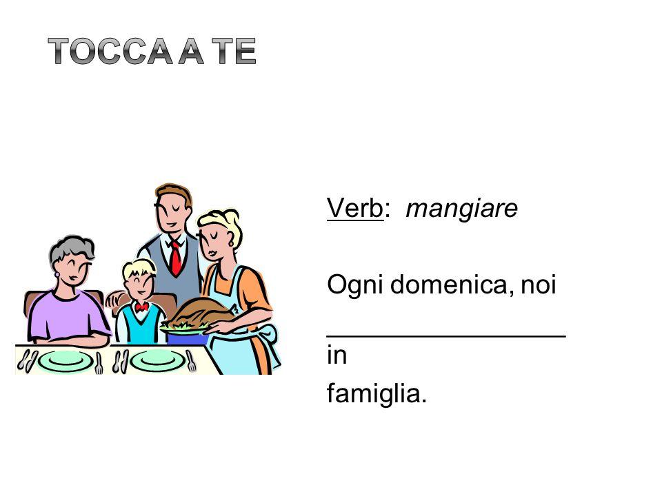 Verb: mangiare Ogni domenica, noi ________________ in famiglia.