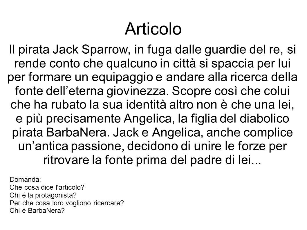 Articolo Il pirata Jack Sparrow, in fuga dalle guardie del re, si rende conto che qualcuno in città si spaccia per lui per formare un equipaggio e andare alla ricerca della fonte delleterna giovinezza.