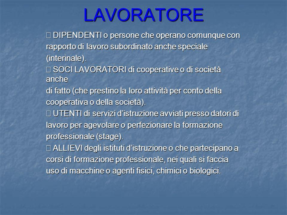 LAVORATORE DIPENDENTI o persone che operano comunque con DIPENDENTI o persone che operano comunque con rapporto di lavoro subordinato anche speciale (