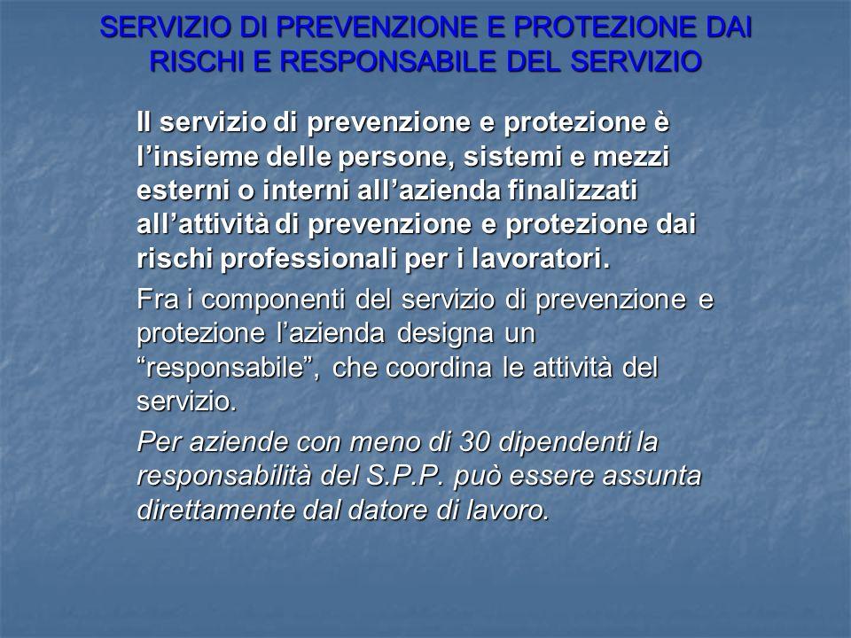 SERVIZIO DI PREVENZIONE E PROTEZIONE DAI RISCHI E RESPONSABILE DEL SERVIZIO Il servizio di prevenzione e protezione è linsieme delle persone, sistemi
