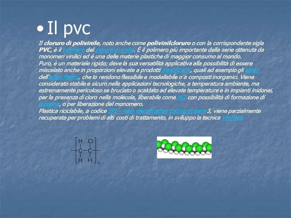 Il pvc Il cloruro di polivinile, noto anche come polivinilcloruro o con la corrispondente sigla PVC, è il polimero del cloruro di vinile. È il polimer