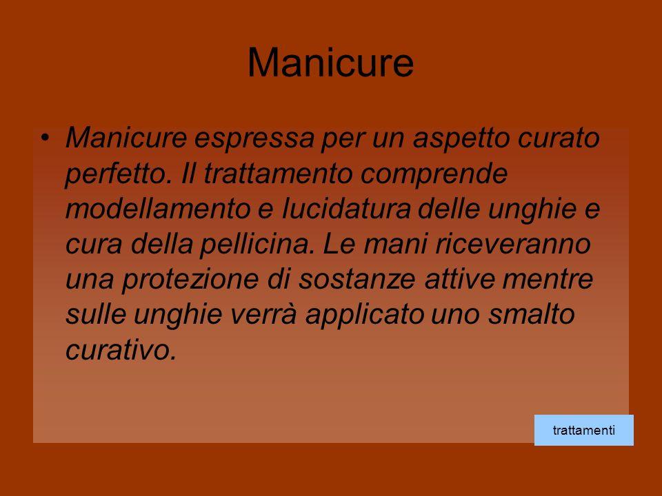 Manicure Manicure espressa per un aspetto curato perfetto. Il trattamento comprende modellamento e lucidatura delle unghie e cura della pellicina. Le