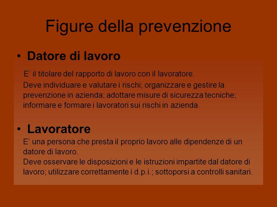 Figure della prevenzione Datore di lavoro E il titolare del rapporto di lavoro con il lavoratore. Deve individuare e valutare i rischi; organizzare e