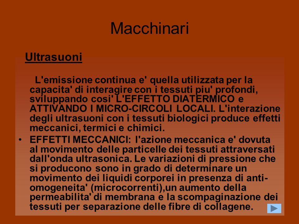 Macchinari2 Ultrasuoni EFFETTI TERMICI: l effetto termico dipende essenzialmente da due fattori caratteristici di assorbimento del mezzo biologico e la riflessione dell energia a livello dell interfaccia tra tessuti a differente impendenza acustica.