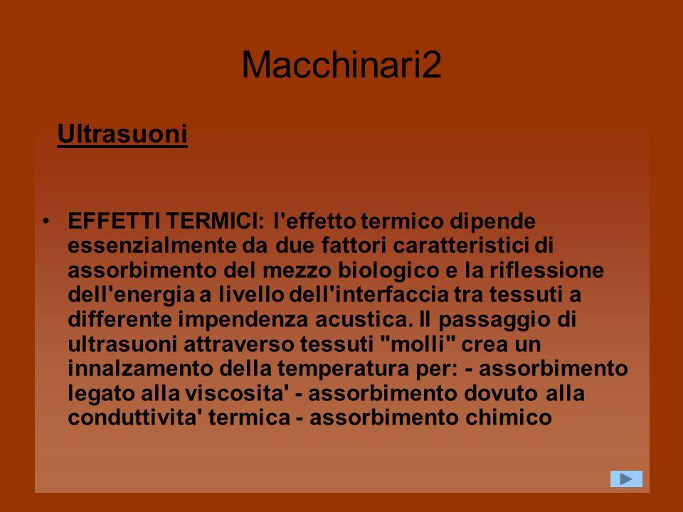Macchinari2 Ultrasuoni EFFETTI TERMICI: l'effetto termico dipende essenzialmente da due fattori caratteristici di assorbimento del mezzo biologico e l