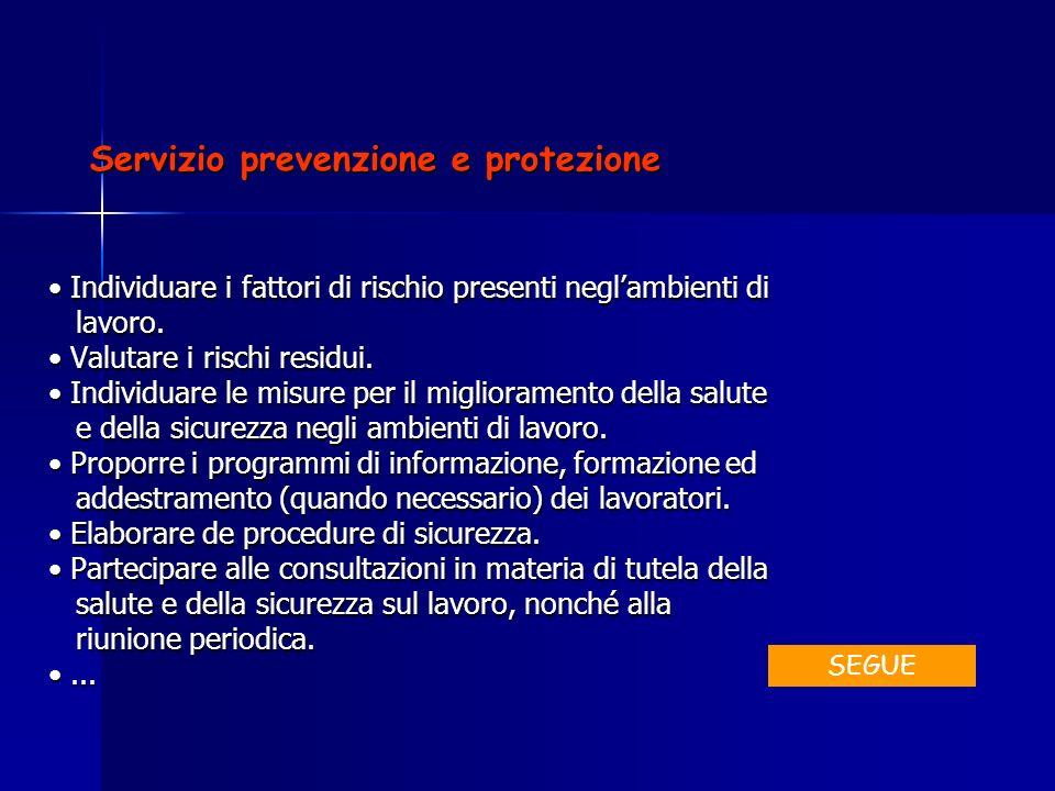 Servizio prevenzione e protezione Individuare i fattori di rischio presenti neglambienti di Individuare i fattori di rischio presenti neglambienti di
