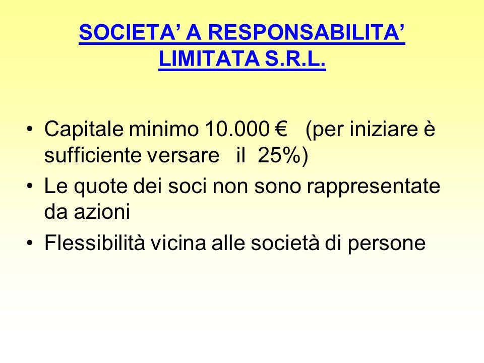 SOCIETA A RESPONSABILITA LIMITATA S.R.L. Capitale minimo 10.000 (per iniziare è sufficiente versare il 25%) Le quote dei soci non sono rappresentate d