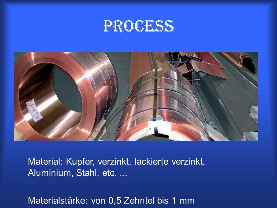 Process Material: Kupfer, verzinkt, lackierte verzinkt, Aluminium, Stahl, etc.... Materialstärke: von 0,5 Zehntel bis 1 mm