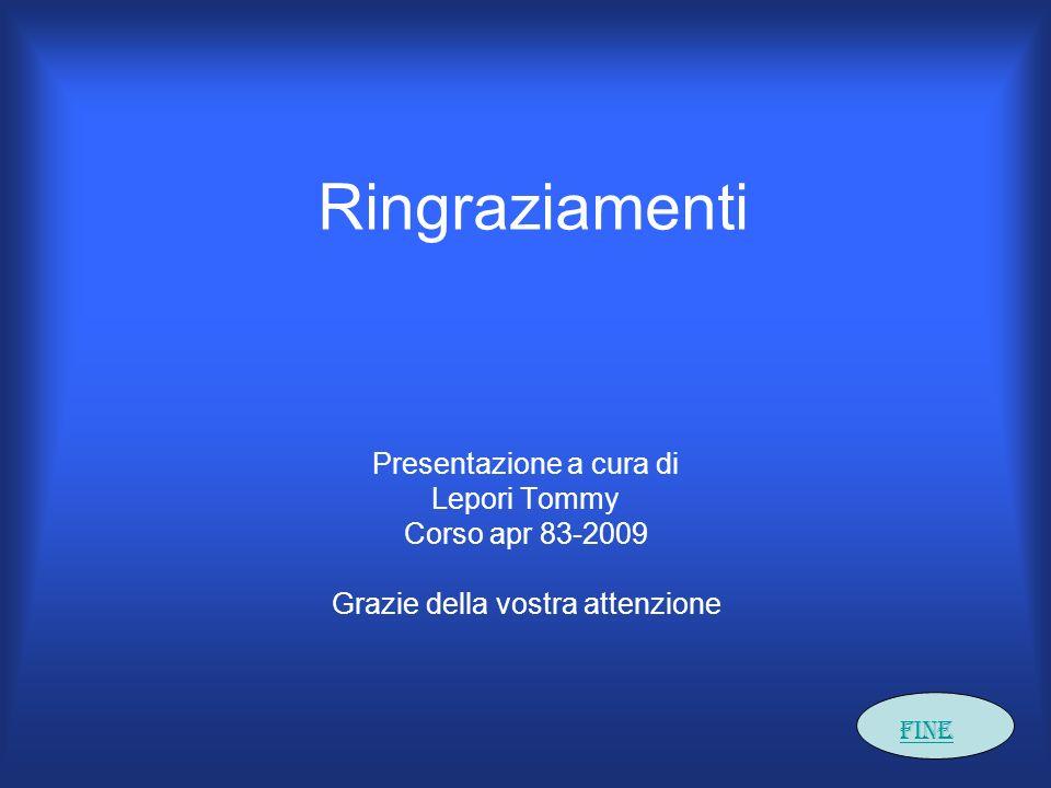 Ringraziamenti Presentazione a cura di Lepori Tommy Corso apr 83-2009 Grazie della vostra attenzione Fine