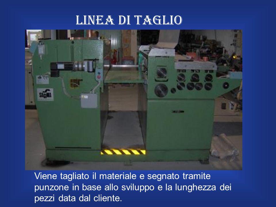Linea di taglio Viene tagliato il materiale e segnato tramite punzone in base allo sviluppo e la lunghezza dei pezzi data dal cliente.